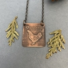 Chicken Necklace- Etched Copper