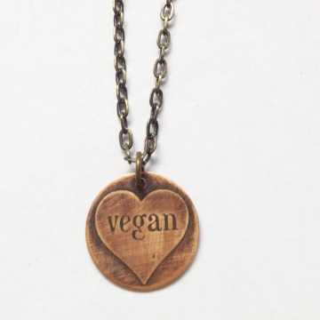 Etched Copper Vegan Heart Necklace