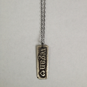 Sterling  Silver Etched Vegan Necklace
